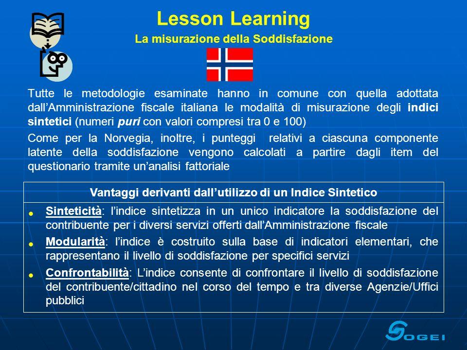 Lesson Learning La misurazione della Soddisfazione