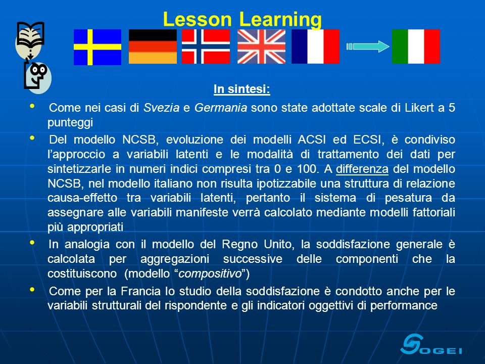 Lesson Learning In sintesi:
