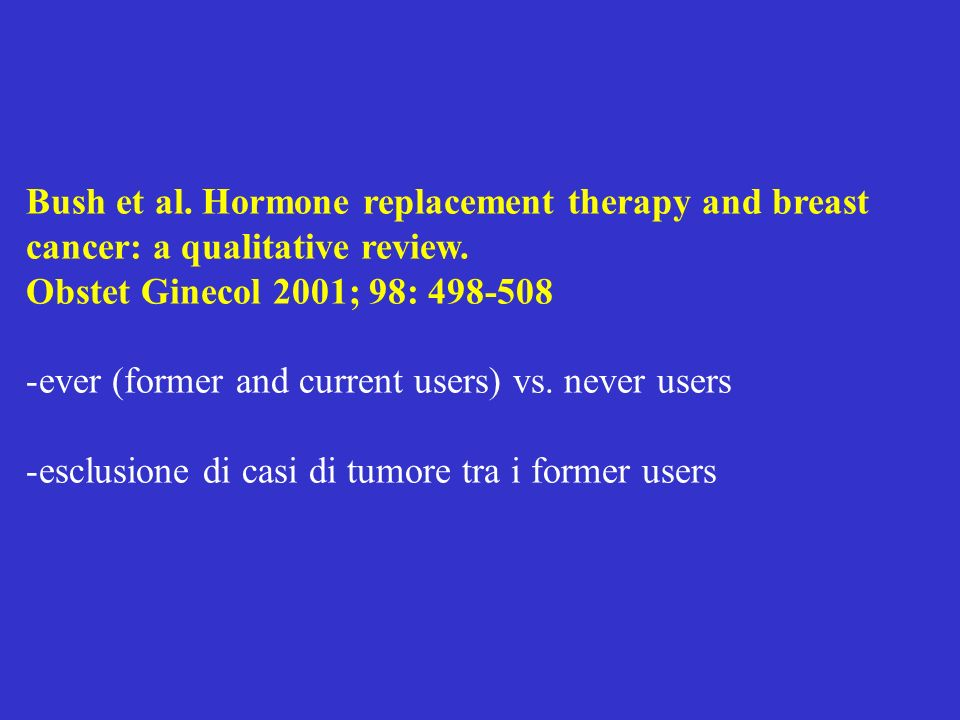 Bush et al. Hormone replacement therapy and breast cancer: a qualitative review.