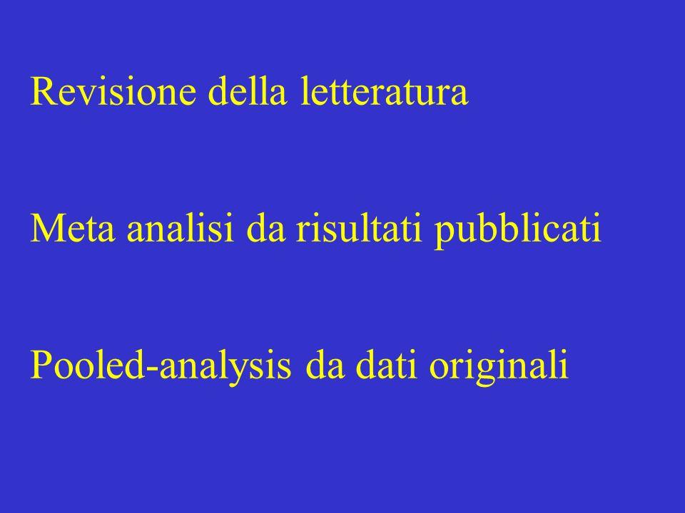 Revisione della letteratura Meta analisi da risultati pubblicati Pooled-analysis da dati originali