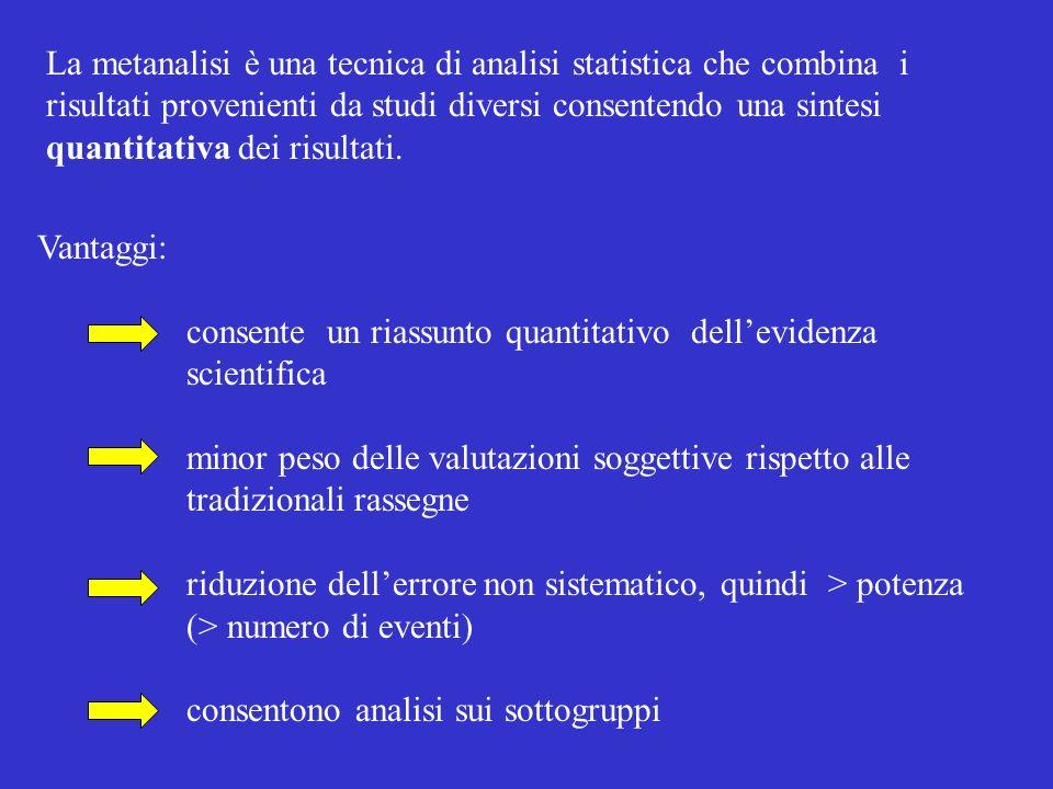 La metanalisi è una tecnica di analisi statistica che combina i risultati provenienti da studi diversi consentendo una sintesi quantitativa dei risultati.