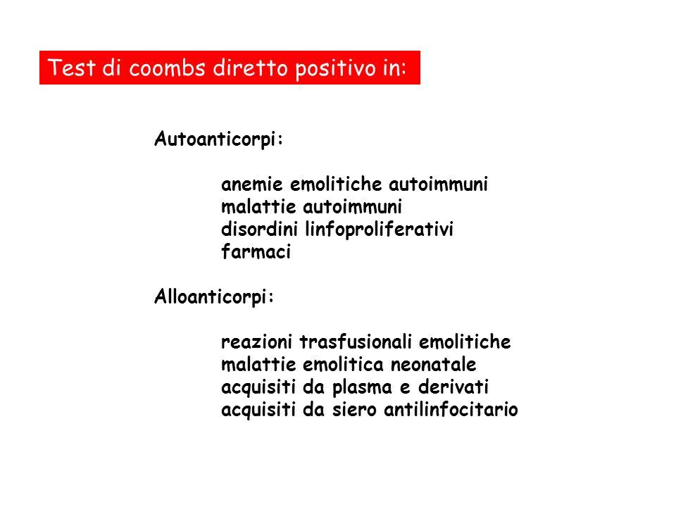 Test di coombs diretto positivo in: