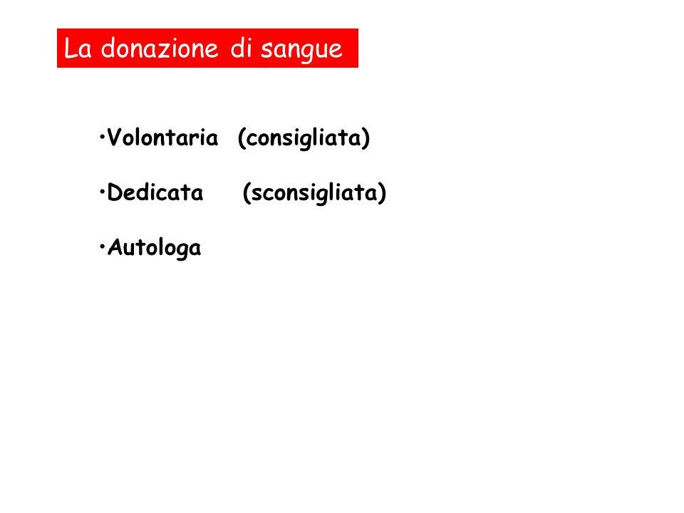 La donazione di sangue Volontaria (consigliata)