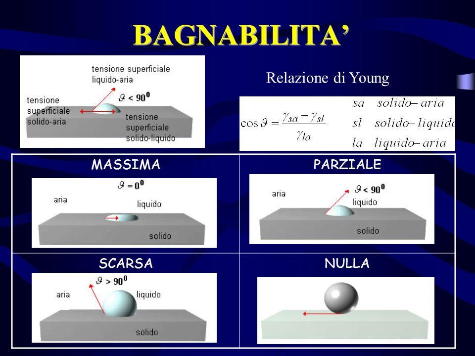 BAGNABILITA' Relazione di Young MASSIMA PARZIALE SCARSA NULLA