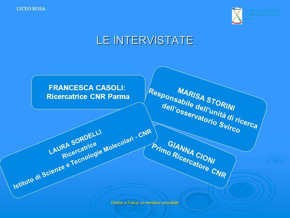 LE INTERVISTATE FRANCESCA CASOLI: Ricercatrice CNR Parma