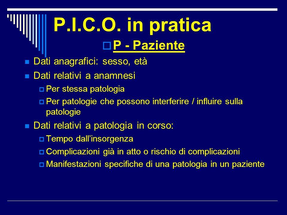P.I.C.O. in pratica P - Paziente Dati anagrafici: sesso, età