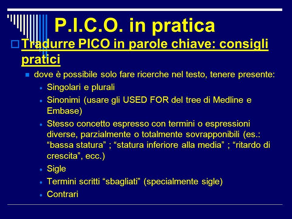 P.I.C.O. in pratica Tradurre PICO in parole chiave: consigli pratici