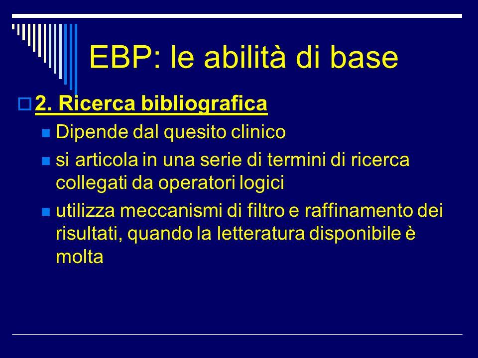 EBP: le abilità di base 2. Ricerca bibliografica