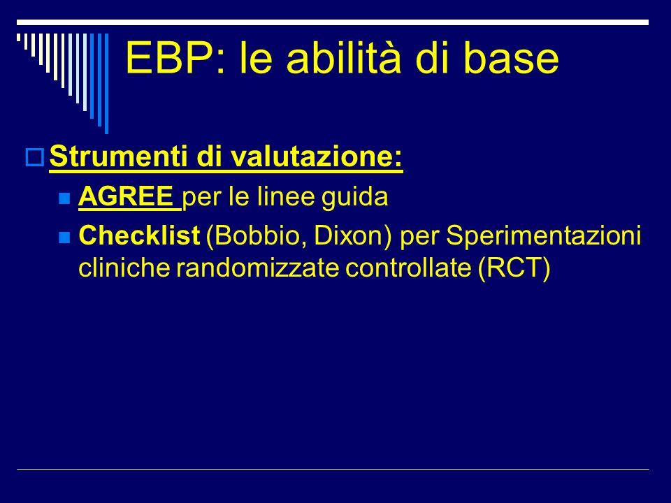 EBP: le abilità di base Strumenti di valutazione: