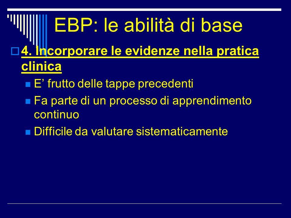 EBP: le abilità di base 4. Incorporare le evidenze nella pratica clinica. E' frutto delle tappe precedenti.