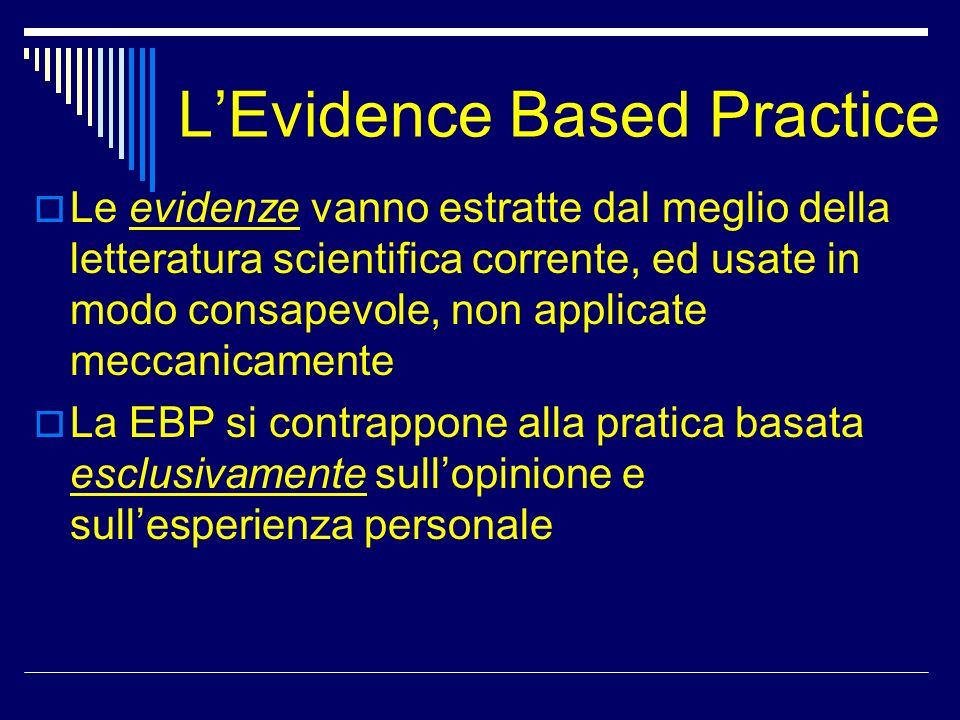 L'Evidence Based Practice