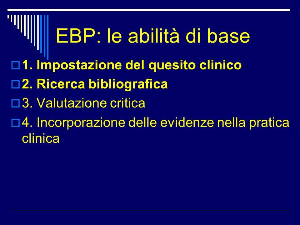 EBP: le abilità di base 1. Impostazione del quesito clinico