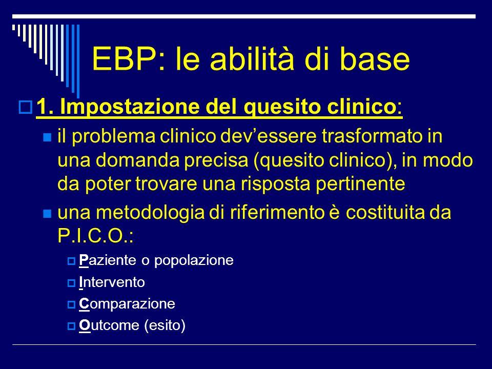 EBP: le abilità di base 1. Impostazione del quesito clinico: