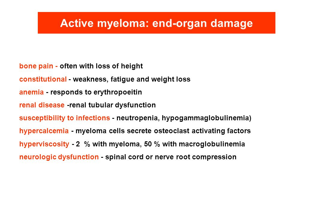 Active myeloma: end-organ damage