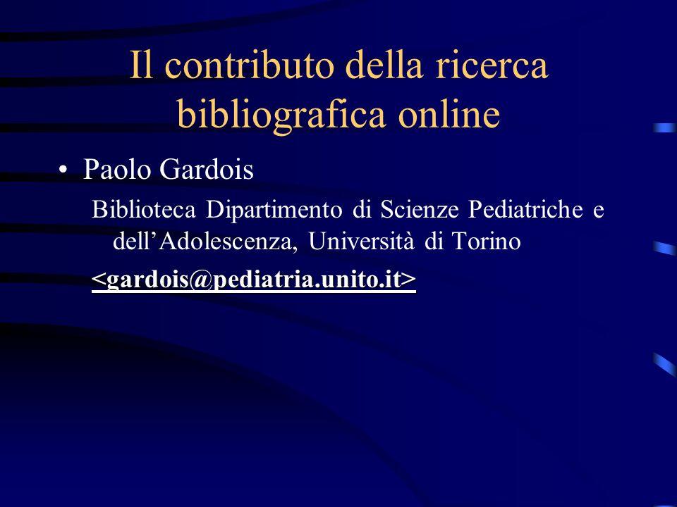 Il contributo della ricerca bibliografica online