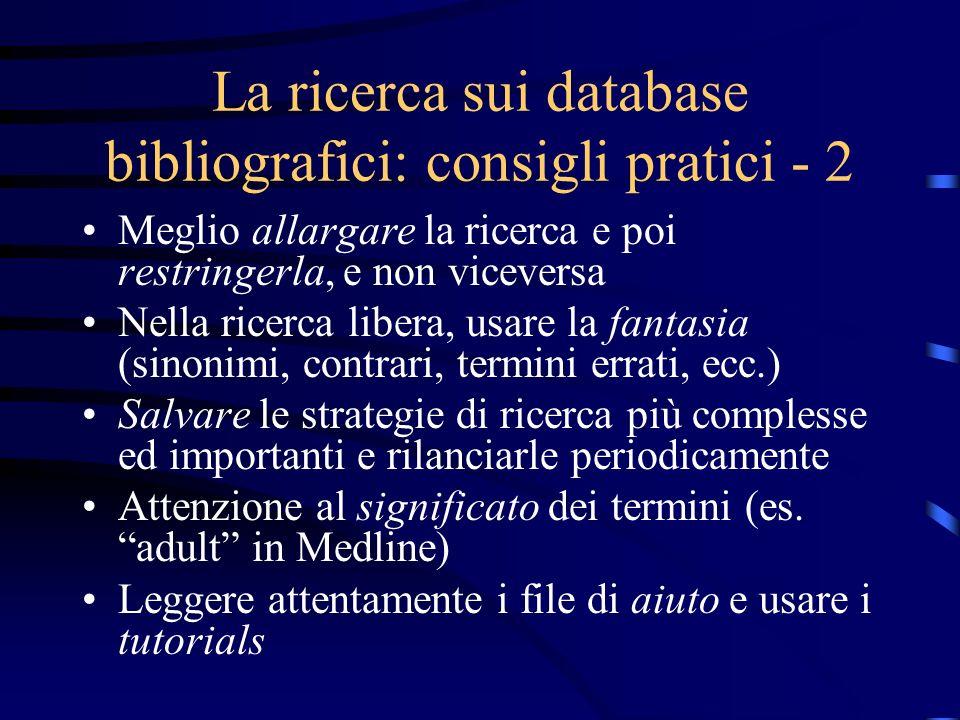 La ricerca sui database bibliografici: consigli pratici - 2