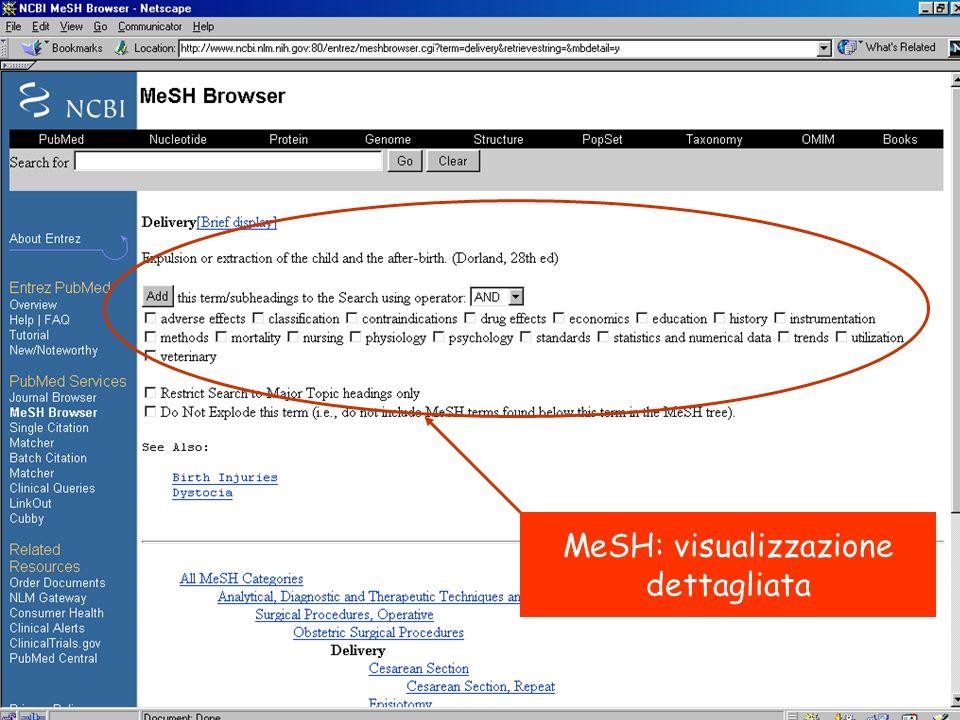 MeSH: visualizzazione dettagliata