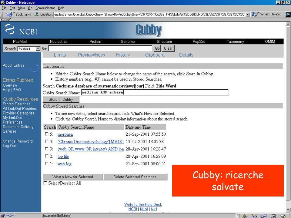 Cubby: ricerche salvate
