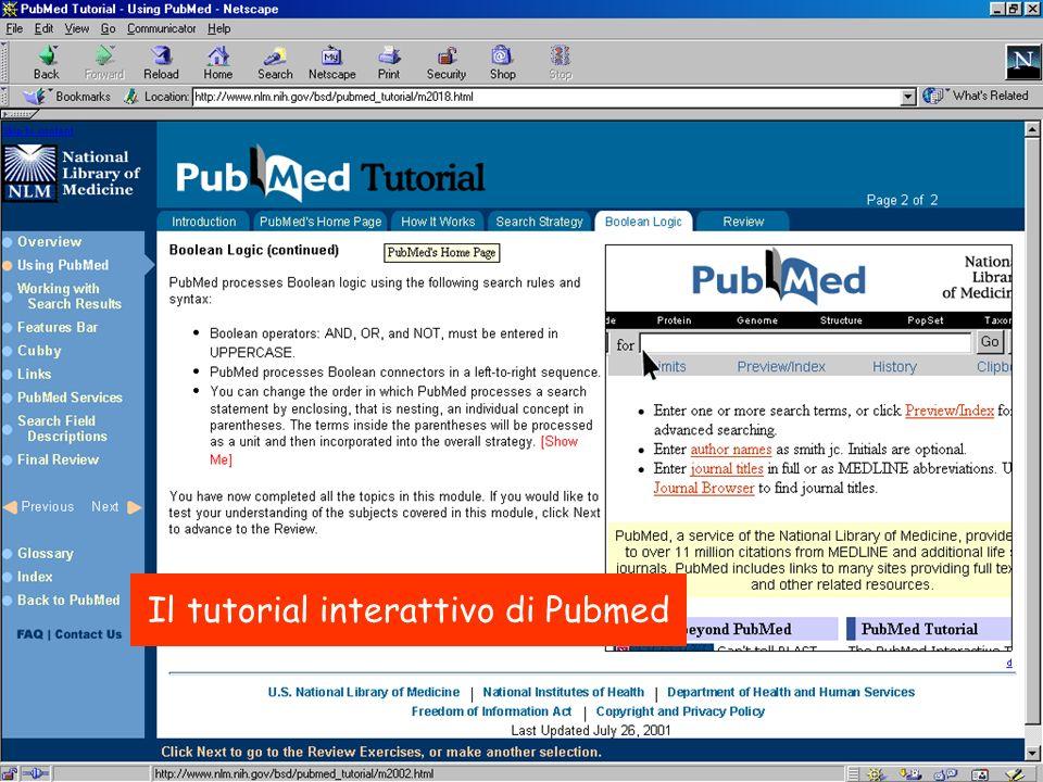 Il tutorial interattivo di Pubmed