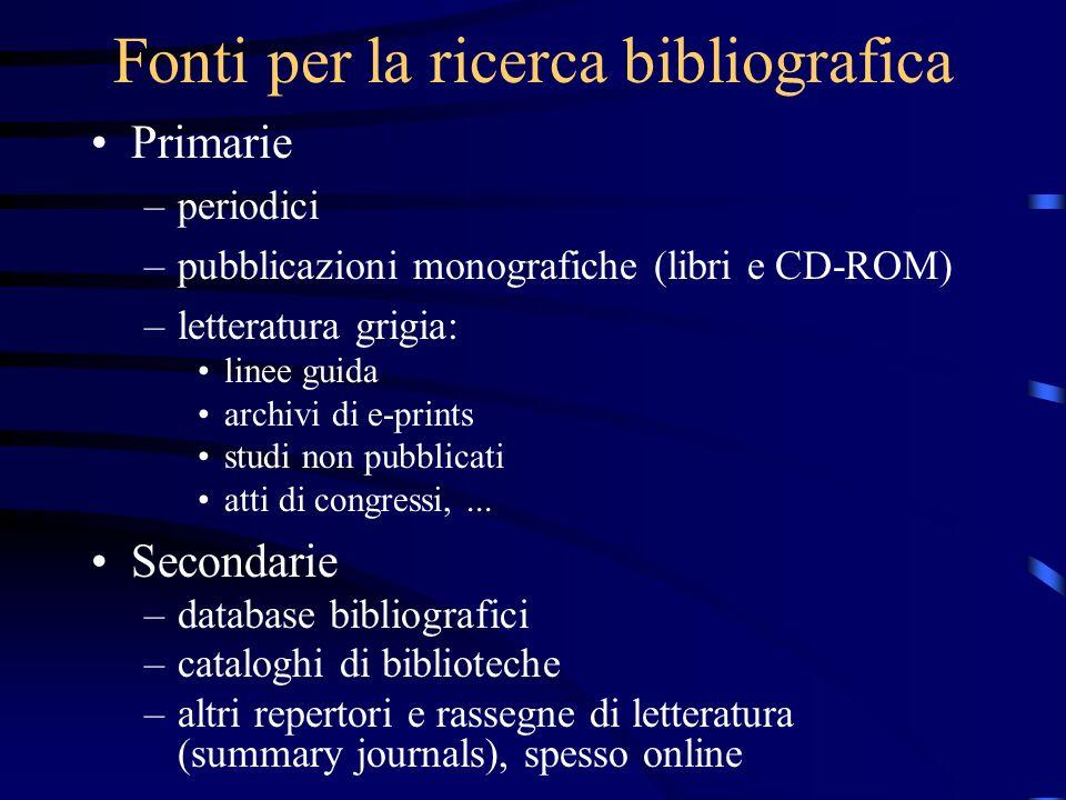 Fonti per la ricerca bibliografica