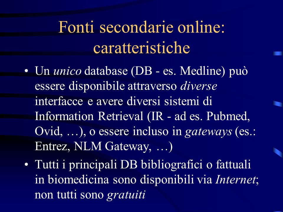 Fonti secondarie online: caratteristiche