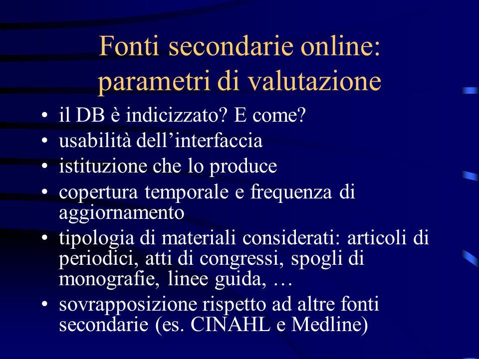 Fonti secondarie online: parametri di valutazione