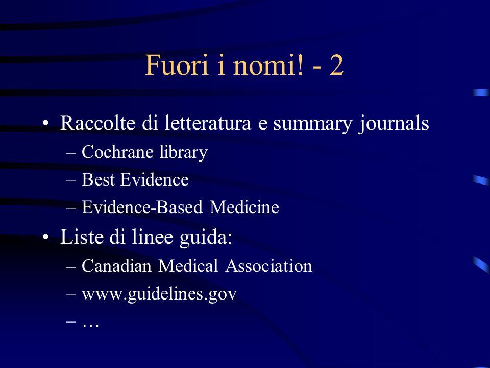 Fuori i nomi! - 2 Raccolte di letteratura e summary journals