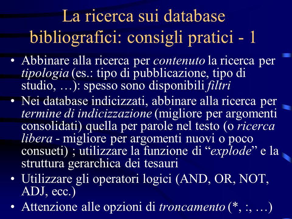 La ricerca sui database bibliografici: consigli pratici - 1