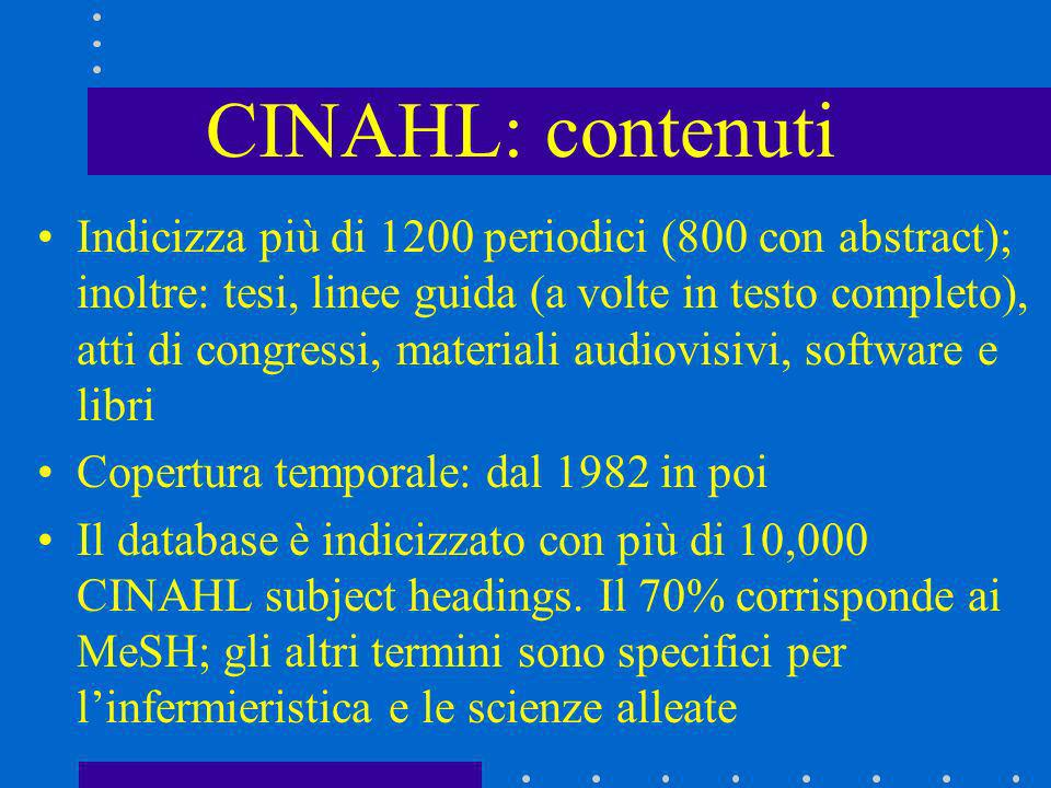CINAHL: contenuti