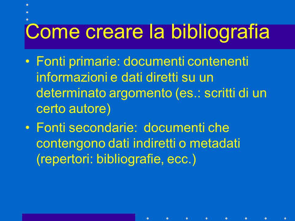 Come creare la bibliografia