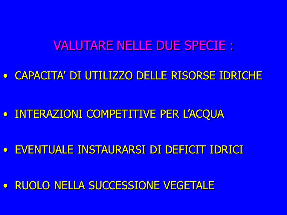 VALUTARE NELLE DUE SPECIE :