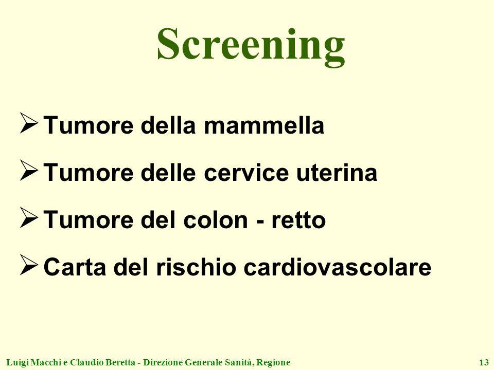 Screening Tumore della mammella Tumore delle cervice uterina