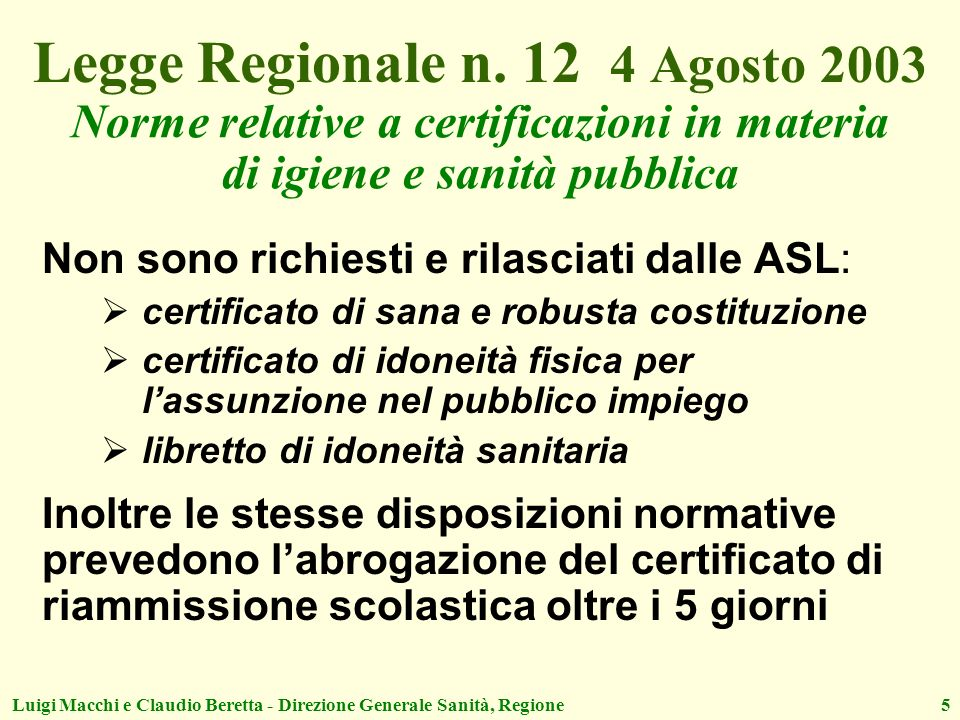 Legge Regionale n. 12 4 Agosto 2003