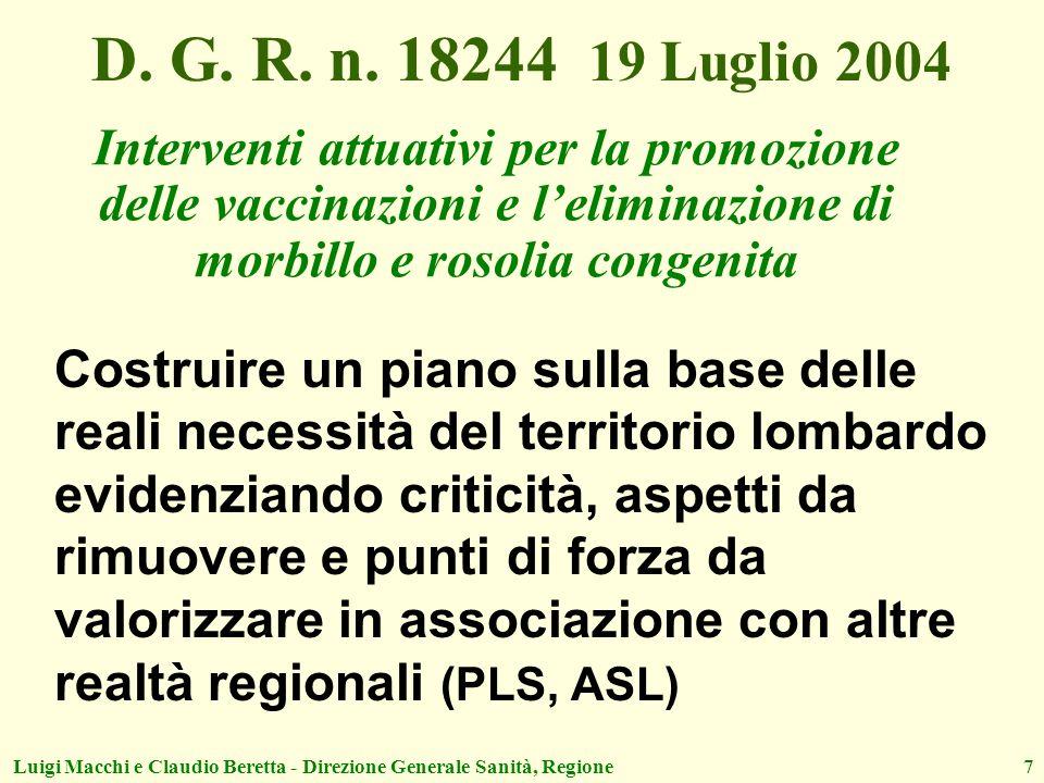 D. G. R. n. 18244 19 Luglio 2004Interventi attuativi per la promozione delle vaccinazioni e l'eliminazione di morbillo e rosolia congenita.