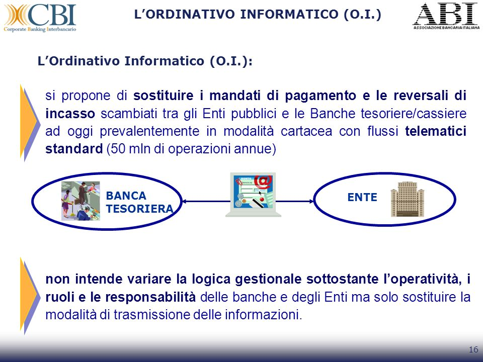L'ORDINATIVO INFORMATICO (O.I.) L'Ordinativo Informatico (O.I.):