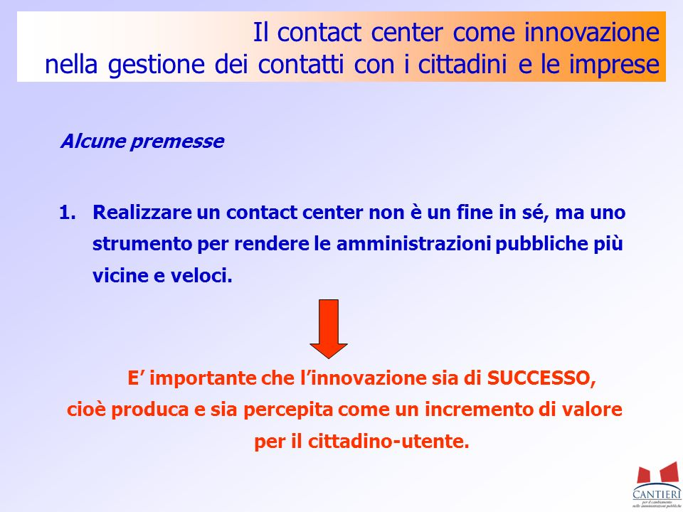 E' importante che l'innovazione sia di SUCCESSO,