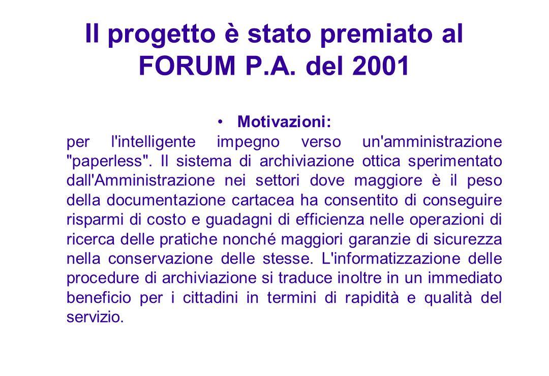 Il progetto è stato premiato al FORUM P.A. del 2001