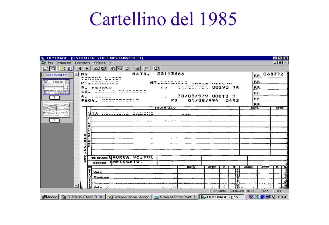 Cartellino del 1985