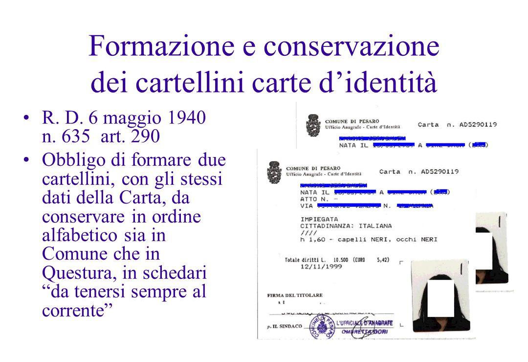Formazione e conservazione dei cartellini carte d'identità