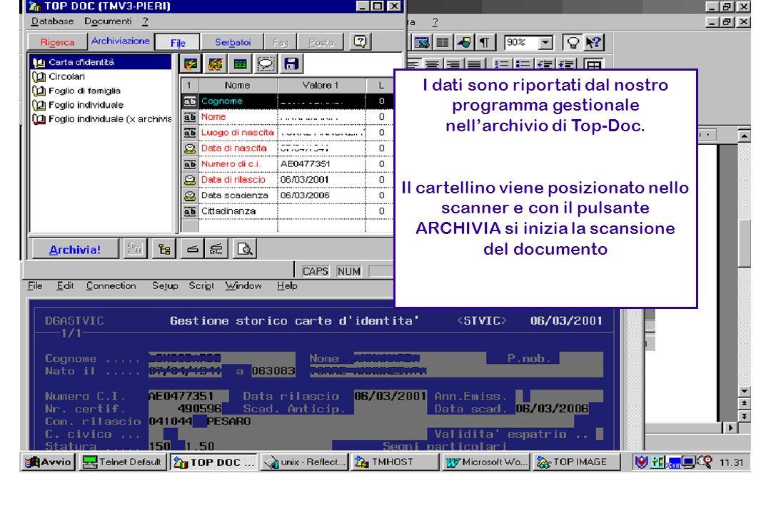 I dati sono riportati dal nostro programma gestionale nell'archivio di Top-Doc.