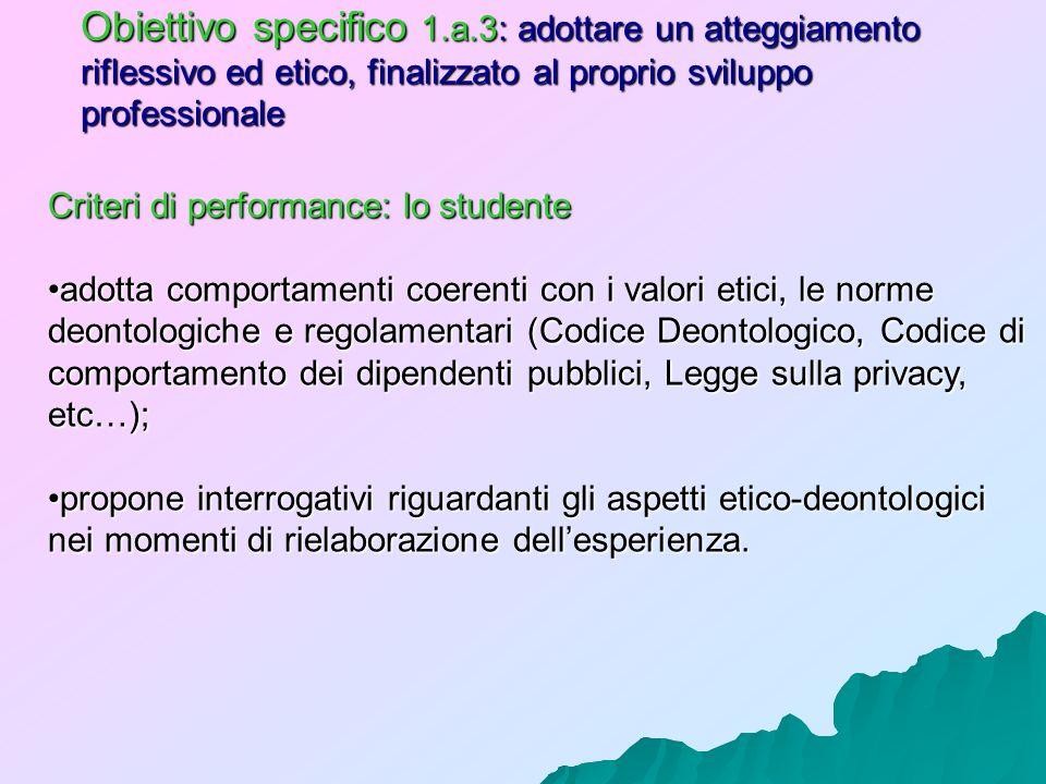 Obiettivo specifico 1.a.3: adottare un atteggiamento riflessivo ed etico, finalizzato al proprio sviluppo professionale