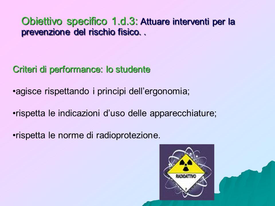 Obiettivo specifico 1.d.3: Attuare interventi per la prevenzione del rischio fisico. .
