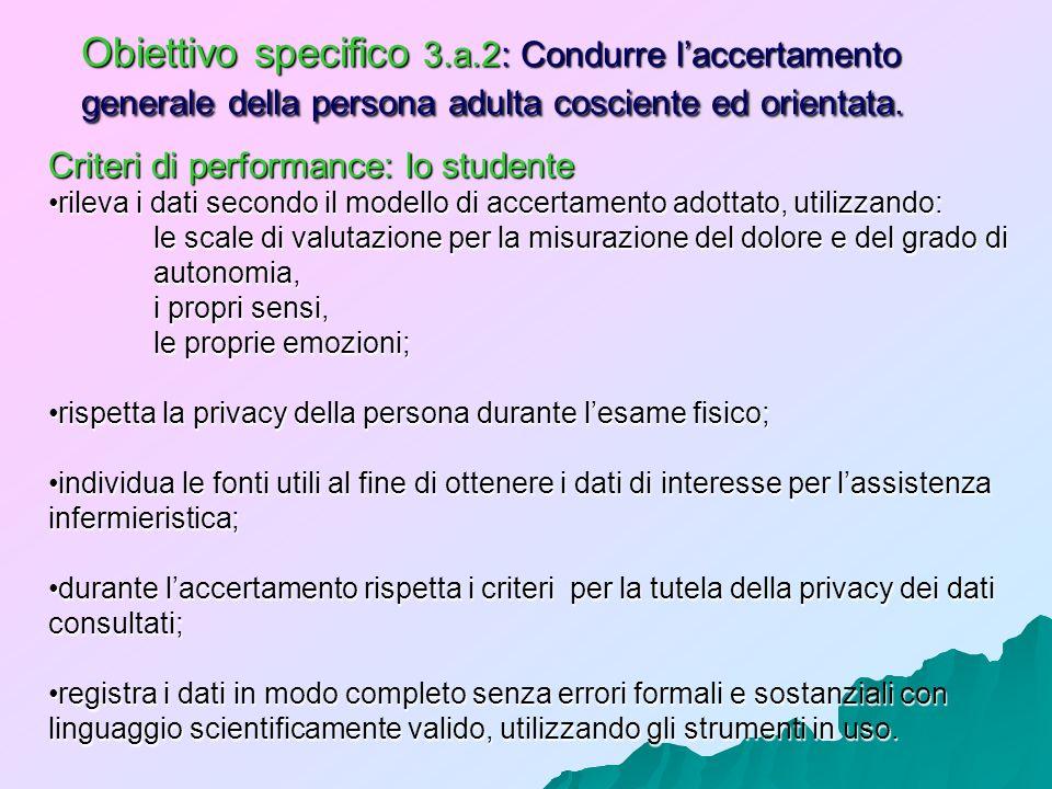 Obiettivo specifico 3.a.2: Condurre l'accertamento generale della persona adulta cosciente ed orientata.