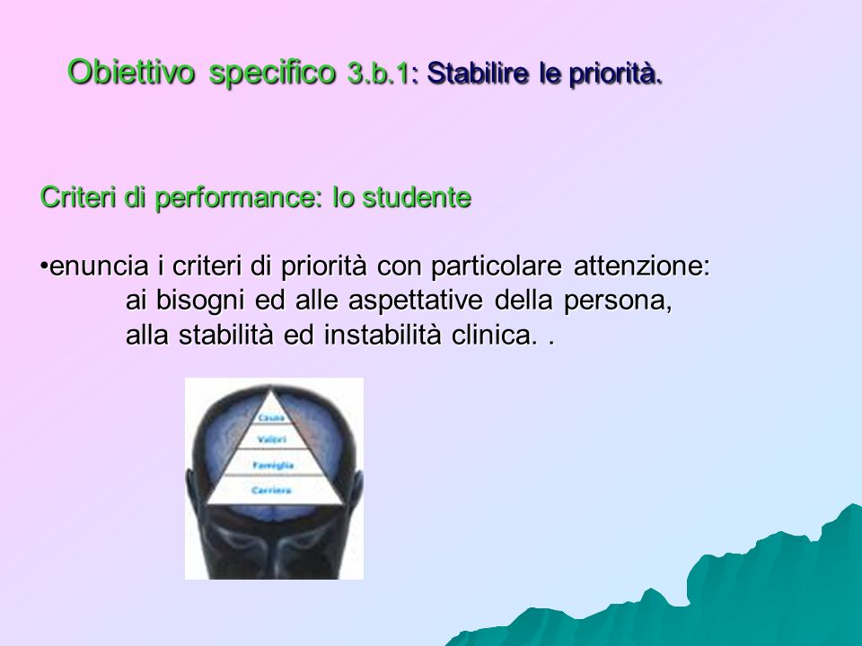 Obiettivo specifico 3.b.1: Stabilire le priorità.
