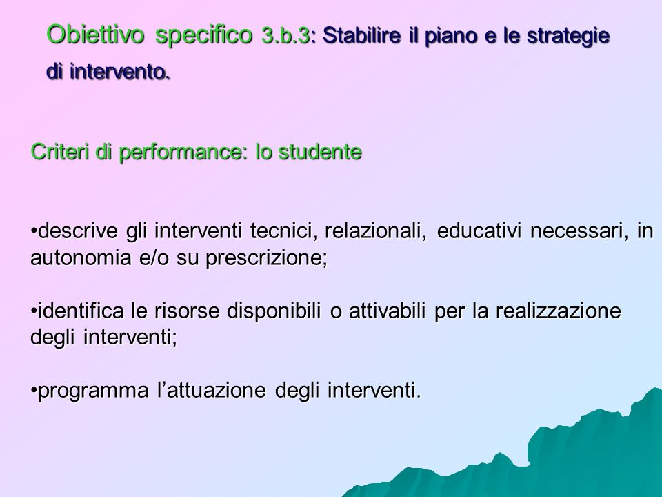 Obiettivo specifico 3.b.3: Stabilire il piano e le strategie di intervento.