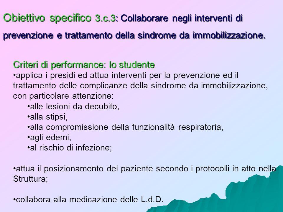 Obiettivo specifico 3.c.3: Collaborare negli interventi di prevenzione e trattamento della sindrome da immobilizzazione.