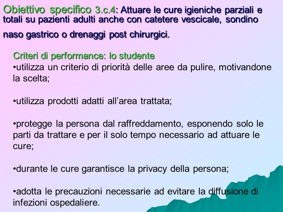 Obiettivo specifico 3.c.4: Attuare le cure igieniche parziali e totali su pazienti adulti anche con catetere vescicale, sondino naso gastrico o drenaggi post chirurgici.