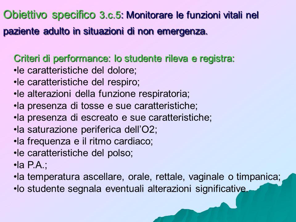 Obiettivo specifico 3.c.5: Monitorare le funzioni vitali nel paziente adulto in situazioni di non emergenza.