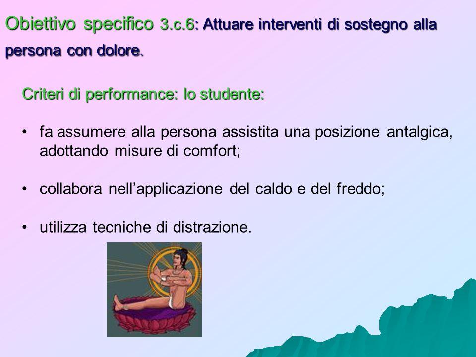 Obiettivo specifico 3.c.6: Attuare interventi di sostegno alla persona con dolore.