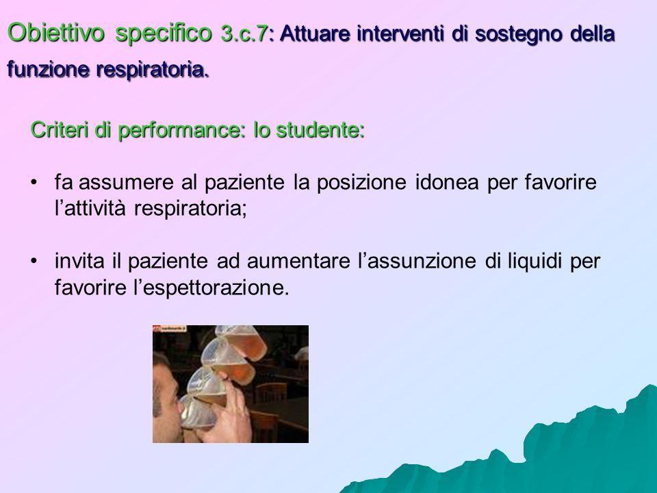 Obiettivo specifico 3.c.7: Attuare interventi di sostegno della funzione respiratoria.